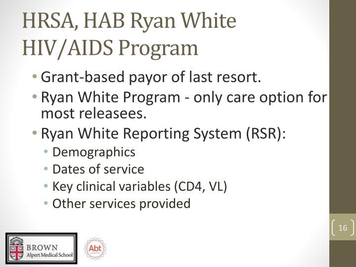 HRSA, HAB Ryan White HIV/AIDS Program