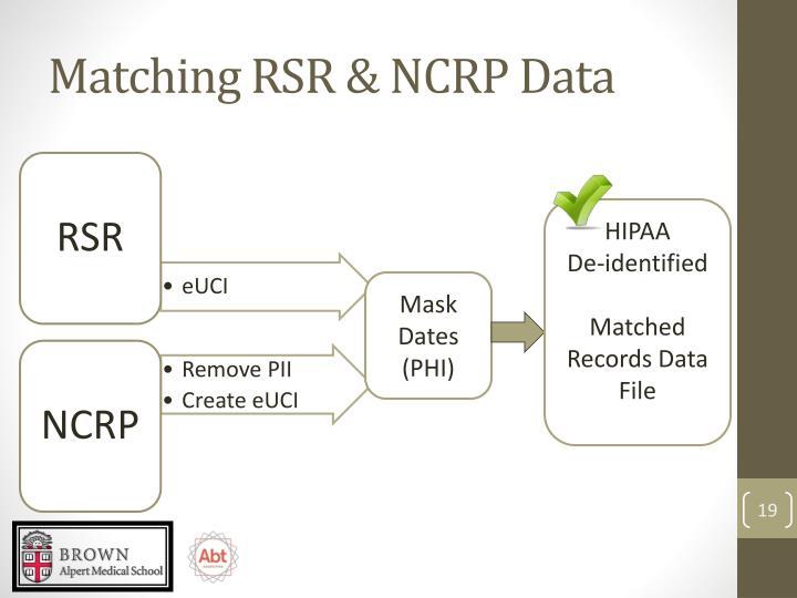Matching RSR & NCRP Data