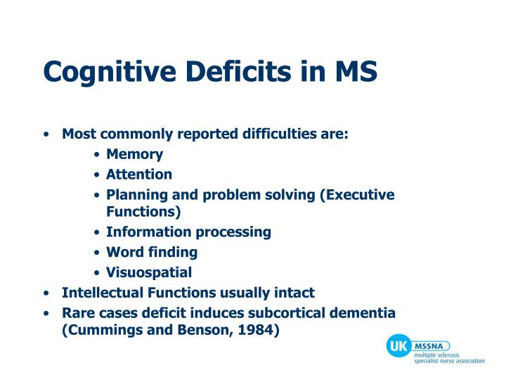 Cognitive Deficits in MS