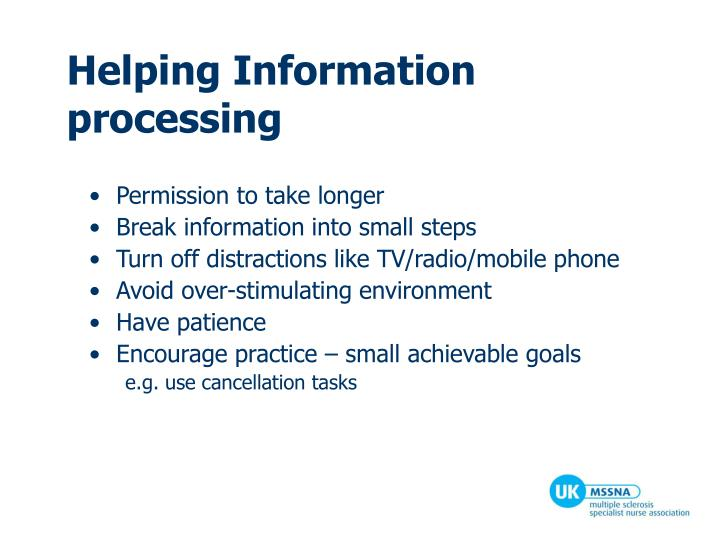 Helping Information processing