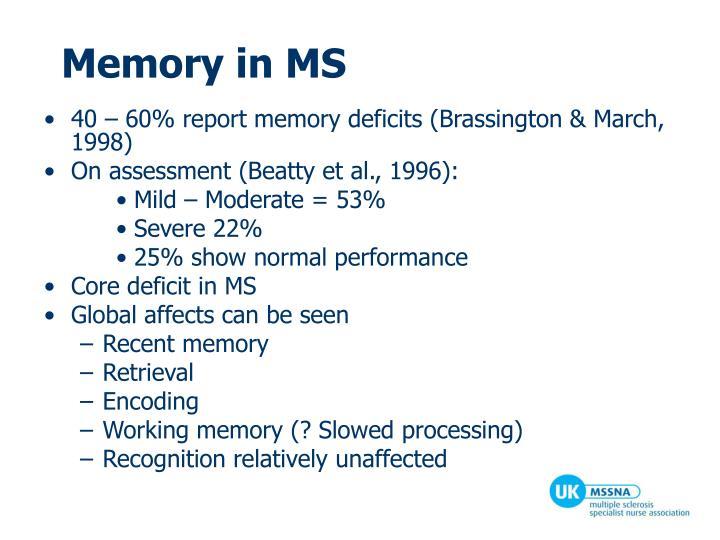 Memory in MS