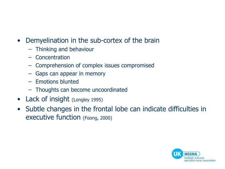 Demyelination in the sub-cortex of the brain