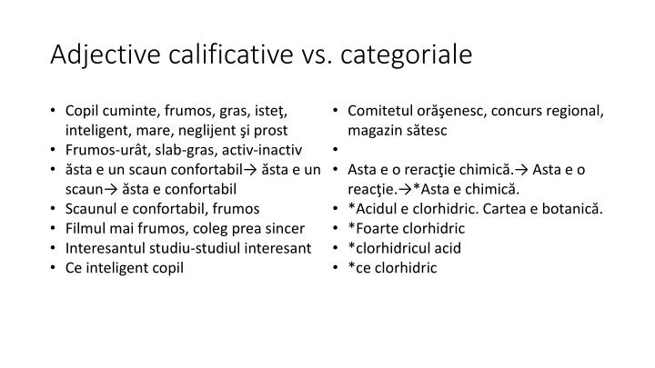 Adjective calificative vs. categoriale