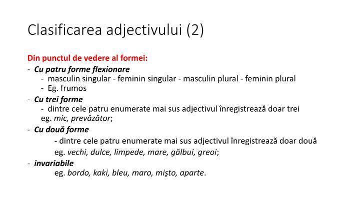 Clasificarea adjectivului (2)