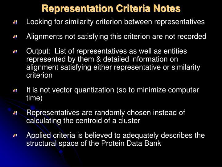 Representation Criteria Notes