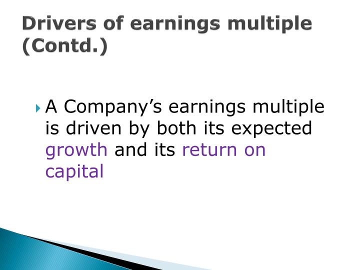 Drivers of earnings multiple (Contd.)