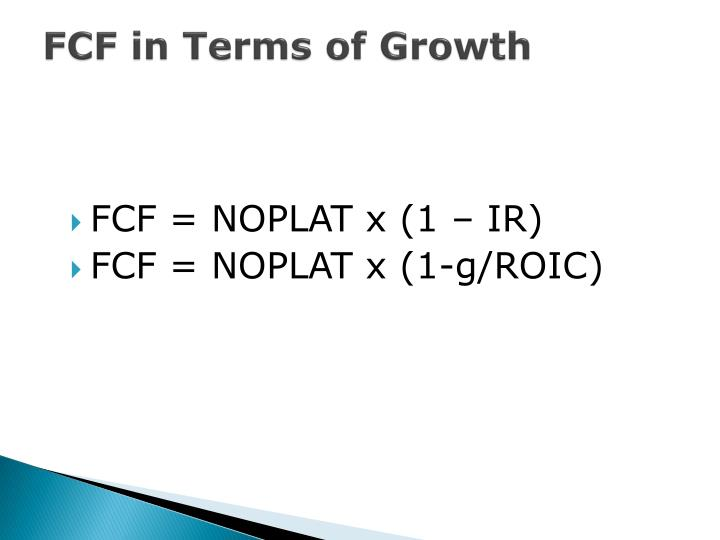 FCF in Terms of Growth