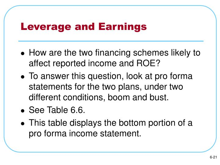Leverage and Earnings
