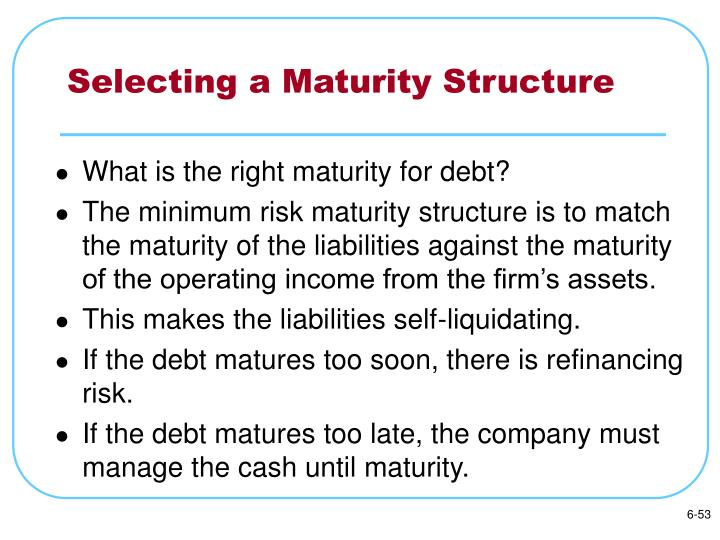 Selecting a Maturity Structure