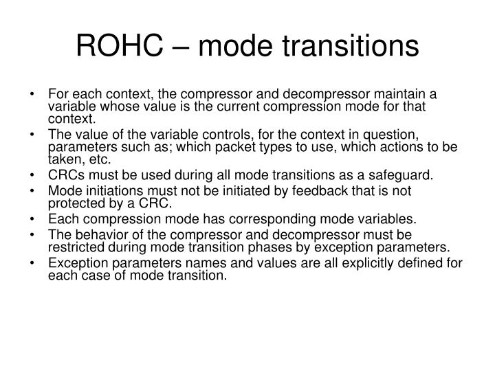 ROHC – mode transitions