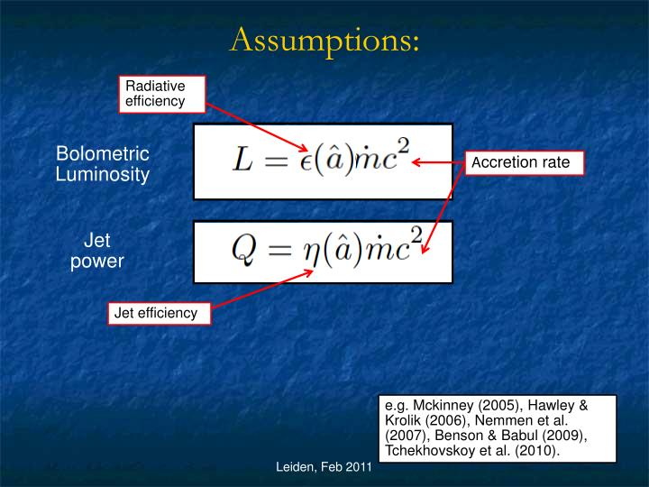 Assumptions: