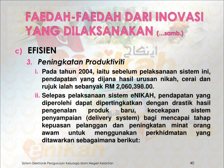 FAEDAH-FAEDAH DARI INOVASI YANG DILAKSANAKAN