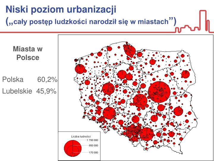 Niski poziom urbanizacji
