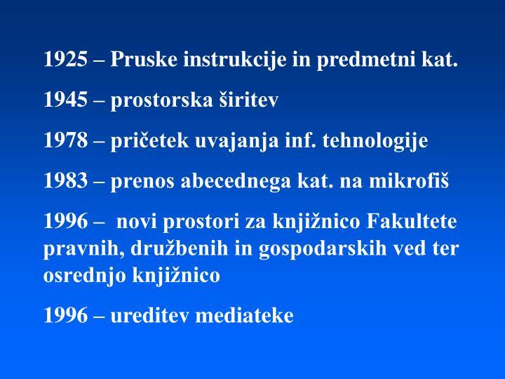 1925 – Pruske instrukcije in predmetni kat.