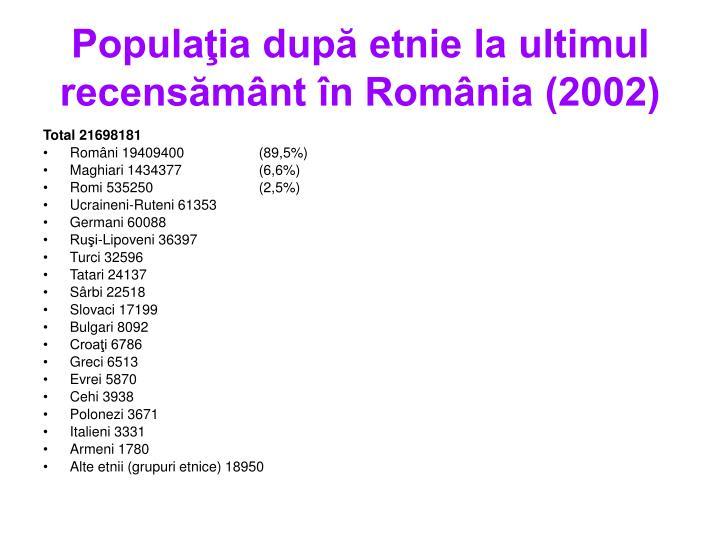 Populaţia după etnie la ultimul recensământ în România (2002)