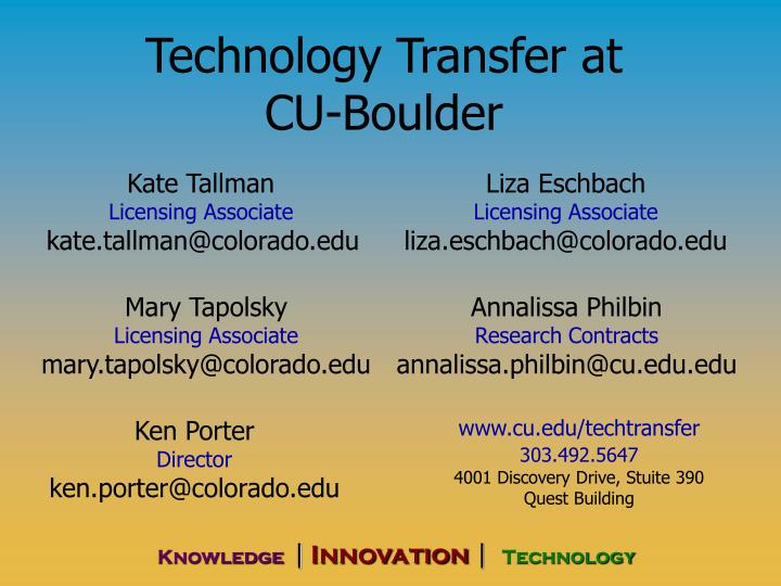 technology transfer at cu boulder n.