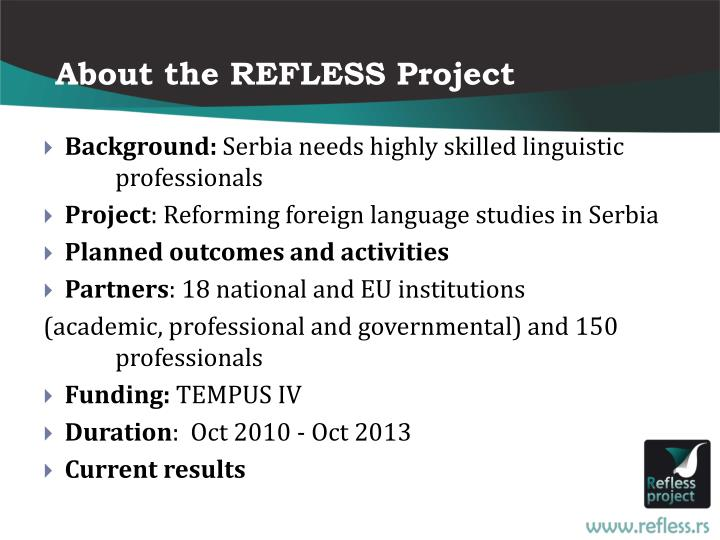 About the REFLESS Project