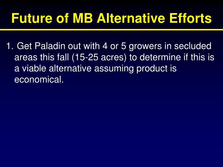 Future of MB Alternative Efforts