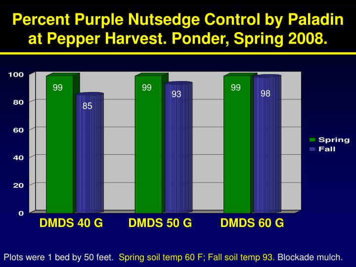 Percent Purple Nutsedge Control by Paladin at Pepper Harvest. Ponder, Spring 2008.