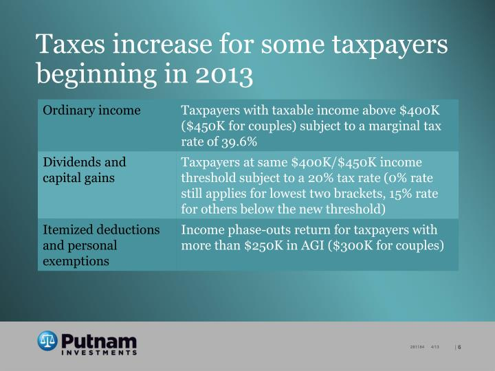 Taxes increase for some taxpayers beginning in 2013