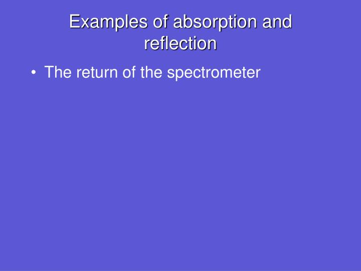 Examples of absorption and reflection
