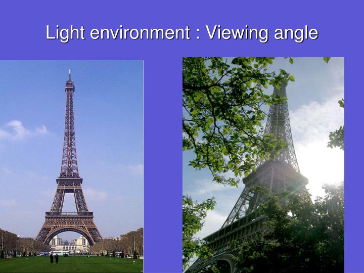 Light environment : Viewing angle