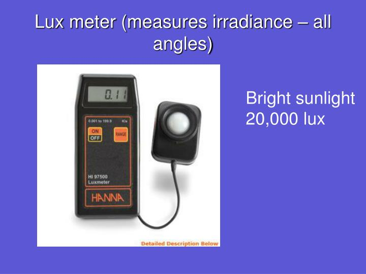 Lux meter (measures irradiance – all angles)