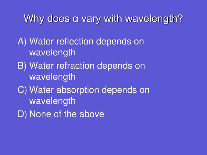 Why does α vary with wavelength?