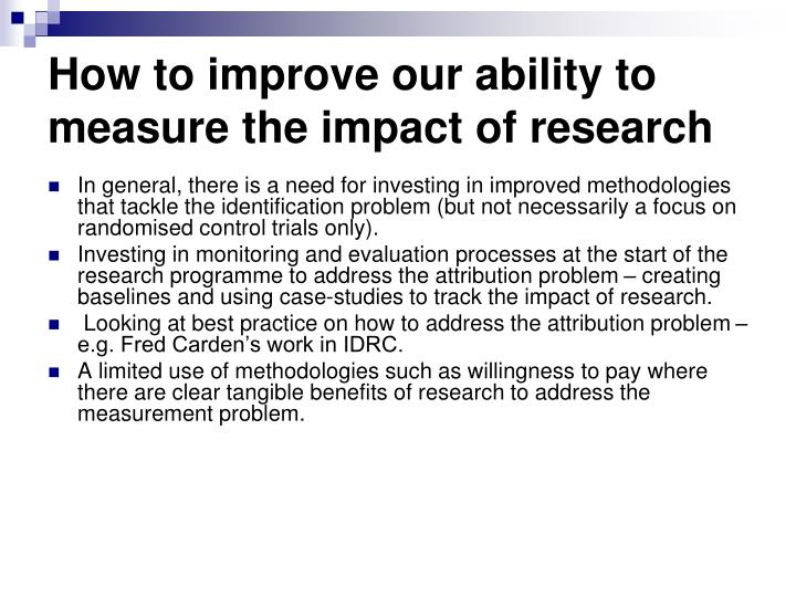 How to improve our ability to measure the impact of research