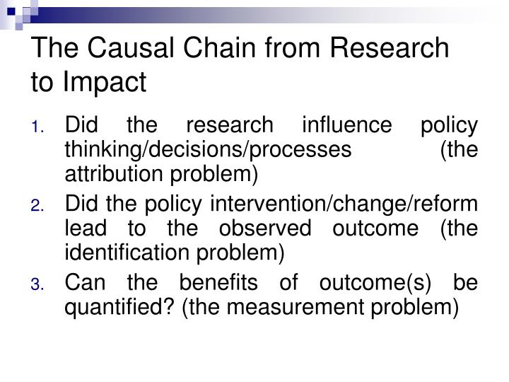 The Causal Chain from Research to Impact