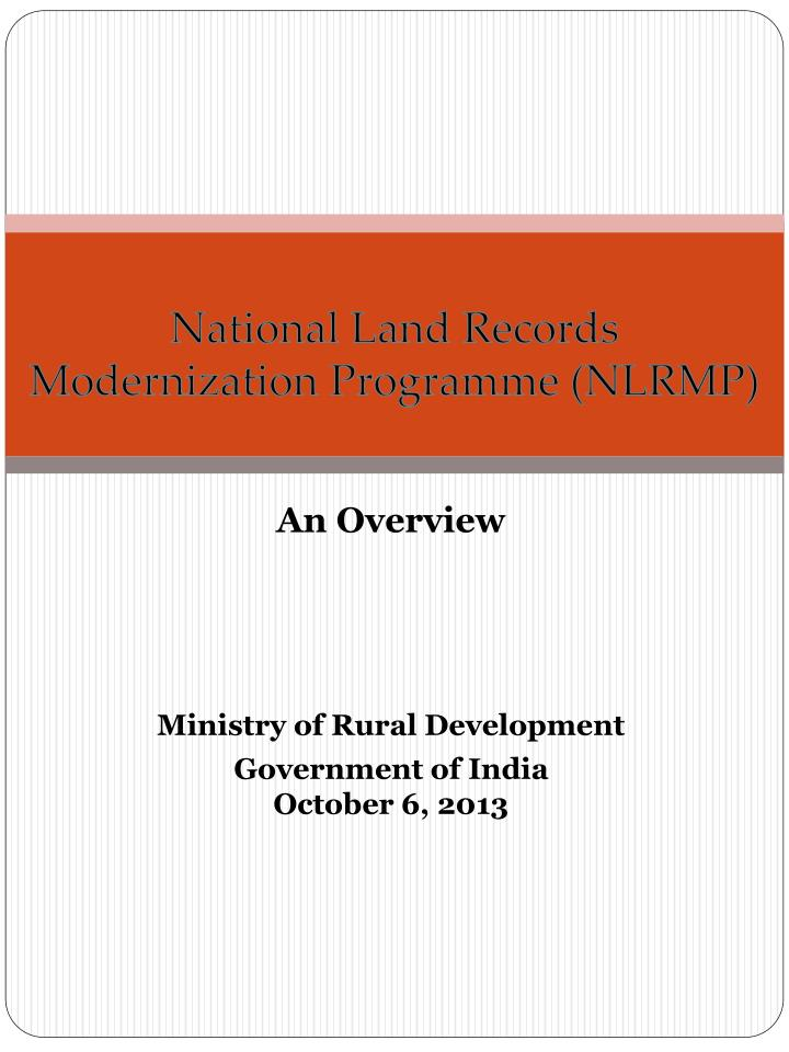 national land records modernization programme nlrmp n.