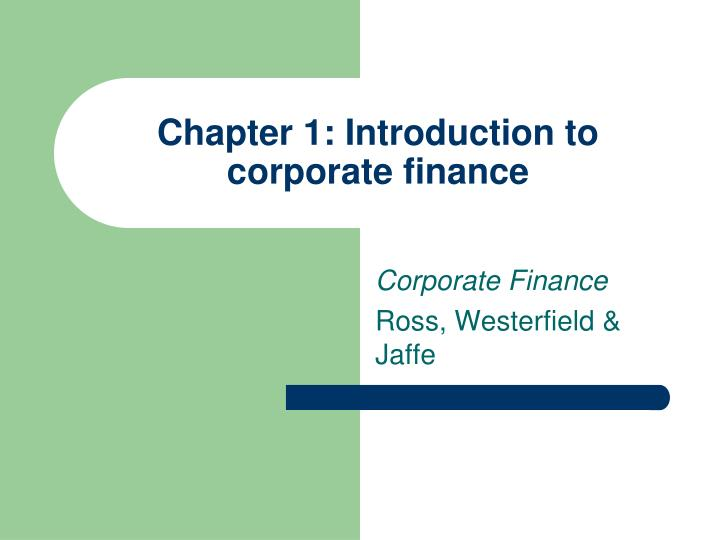 chapter 1 introduction to corporate finance n.