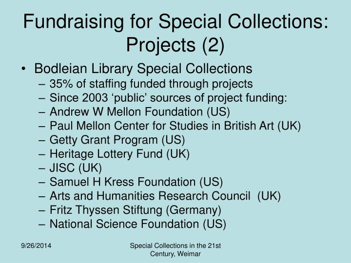 Fundraising for Special Collections: Projects (2)