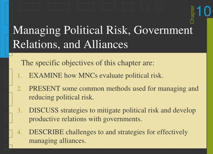 managing political risk government relations and alliances n.
