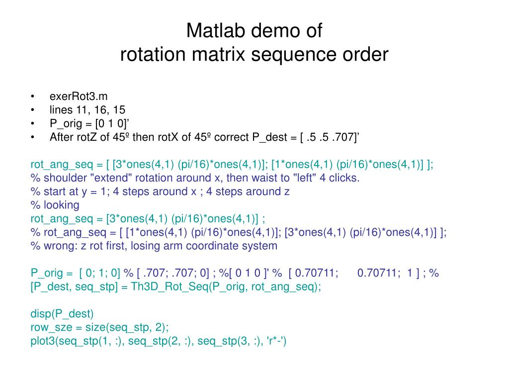 PPT - Roll, Pitch and Yaw: 3-D rotation matrices PowerPoint