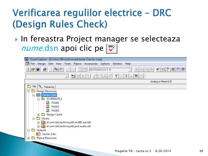 Verificarea regulilor electrice – DRC