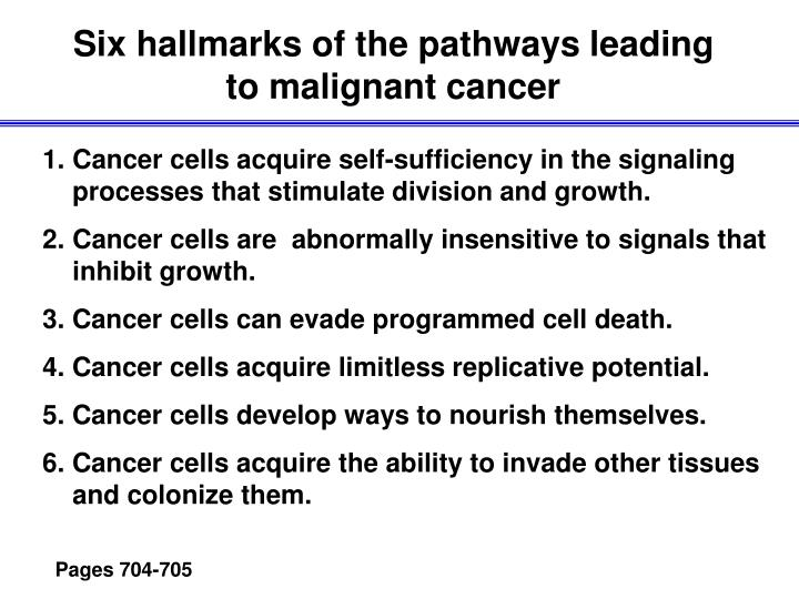 Six hallmarks of the pathways leading to malignant cancer