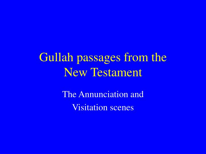 gullah passages from the new testament n.
