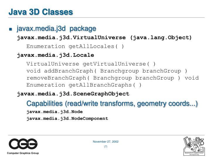 Java 3D Classes