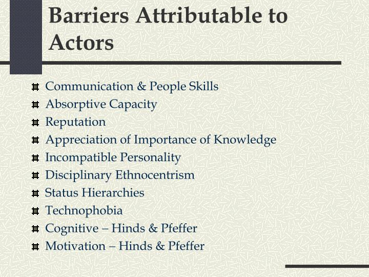Barriers Attributable to Actors