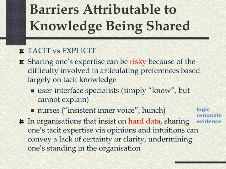 Barriers Attributable to Knowledge Being Shared