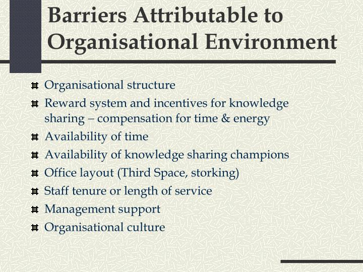 Barriers Attributable to Organisational Environment