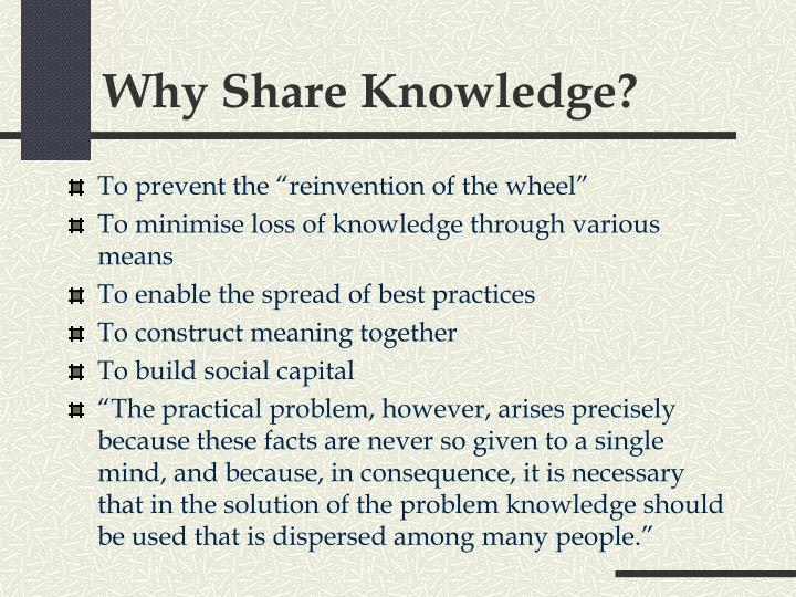Why Share Knowledge?