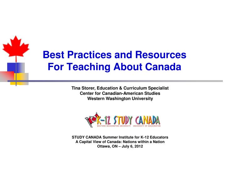 best practices and resources for teaching about canada n.