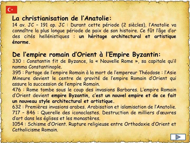 La christianisation de l'Anatolie:
