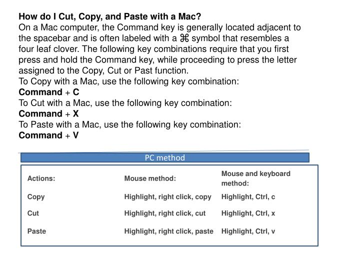 How do I Cut, Copy, and Paste with a Mac?