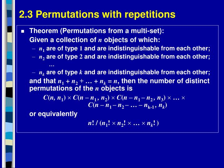 2.3 Permutations with repetitions