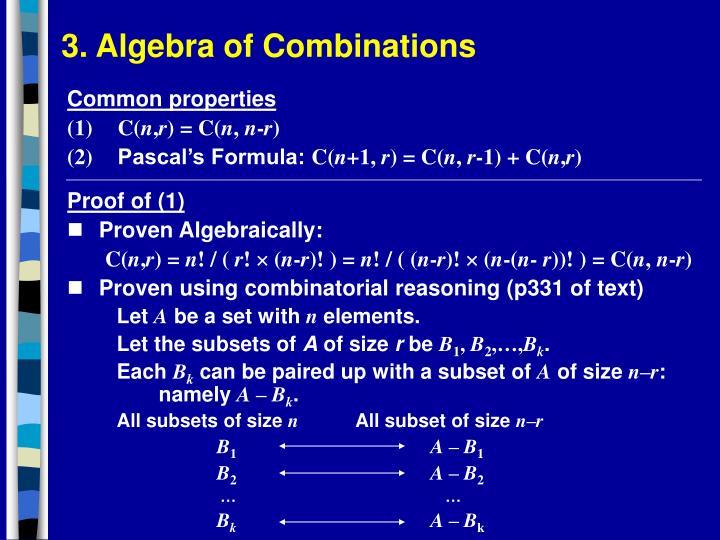 3. Algebra of Combinations