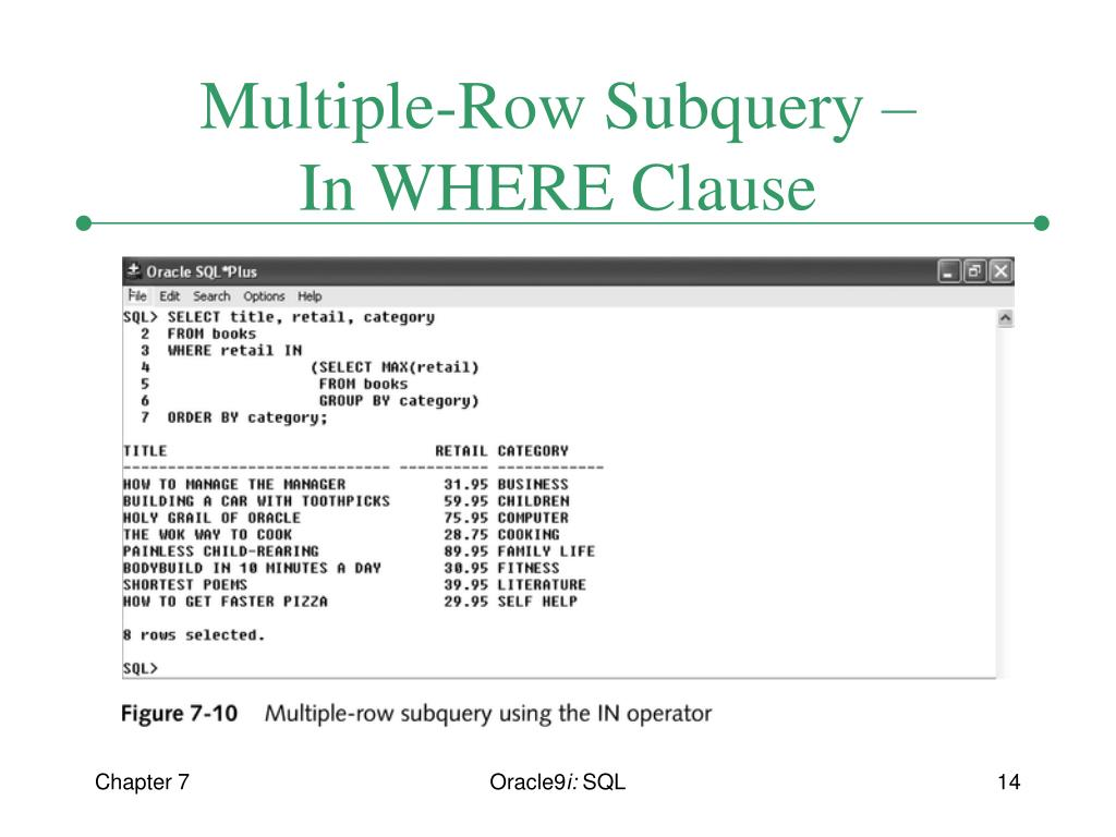 PPT - Chapter 7 Subqueries PowerPoint Presentation - ID:4814837