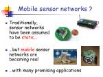 mobile sensor networks